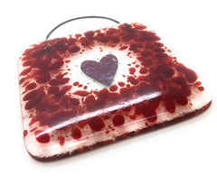 Red heart square lightcatcher