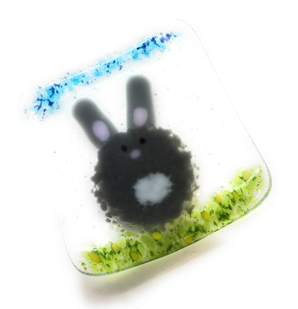 Easter bunny fused glass dish or tea light candle holder