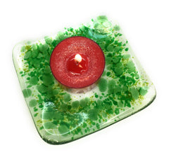 Yankee candle & fused glass green heart Christmas tealight holder gift set