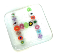 Personalised Letter Coaster - Fused Glass with Millefiore Flowers in a Letter or Number Pattern