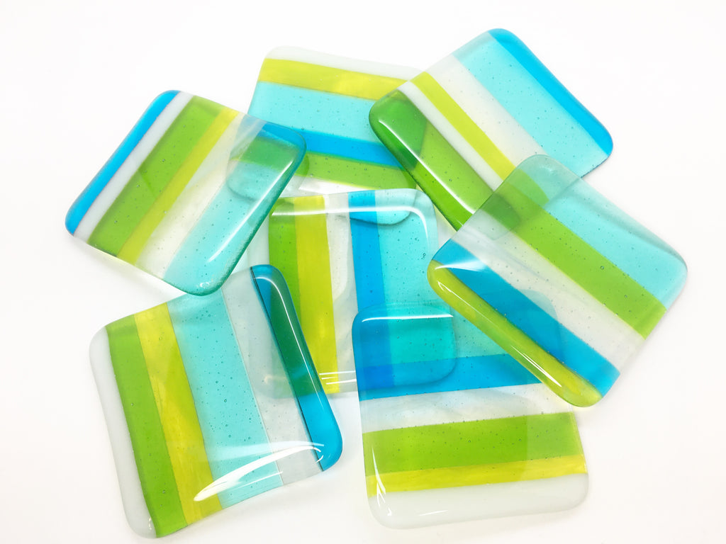 One 'Margarita' fused glass coaster with lime green, aqua blue and turquoise stripes