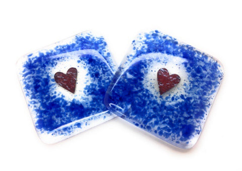 Cobalt Blue Heart Fused Glass Coasters - Set of Two