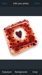 Red heart fused glass coaster