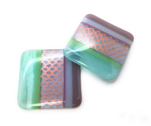 Mermaid coasters - Set of 2 - aqua, green, lilac Stripy fused glass with copper scales