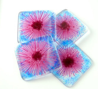 Pink Gerbera Daisy Fused Glass Coasters - Set of 4