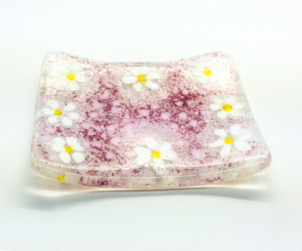 Pink Ditzy Daisy Soap Dish Fused Glass Large Trinket Dish Bowl