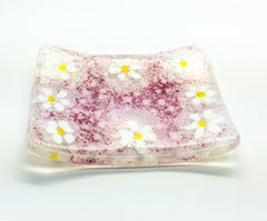 Pink Ditzy Daisy Soap Dish Fused Glass Set