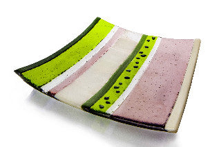 Plum Tree Fused Glass Art Dish - plum, lime green and vanilla cream stripes
