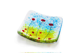 Poppy Fields Fused Glass Trinket Dish