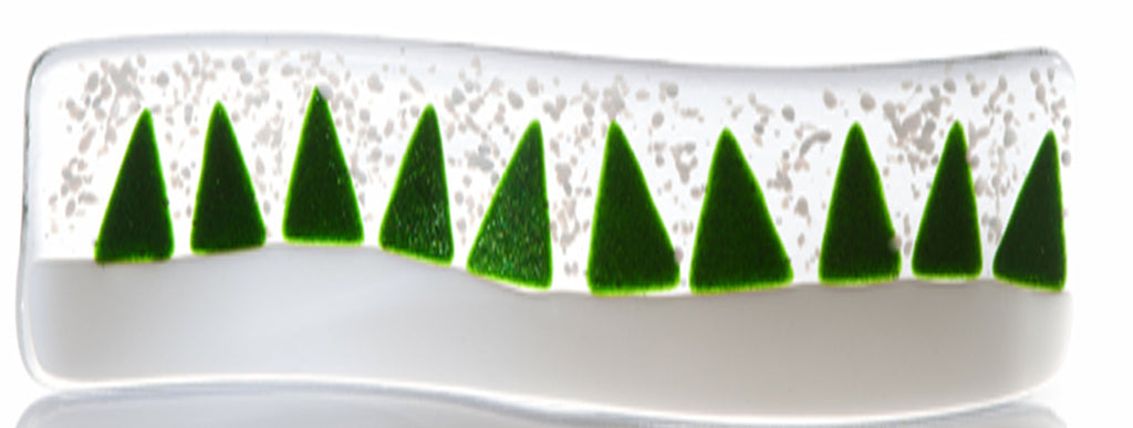 Snowy Christmas Tree Fused Glass Wave