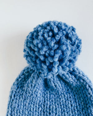 Bulky Hand Knit Pom Beanie - Light Blue