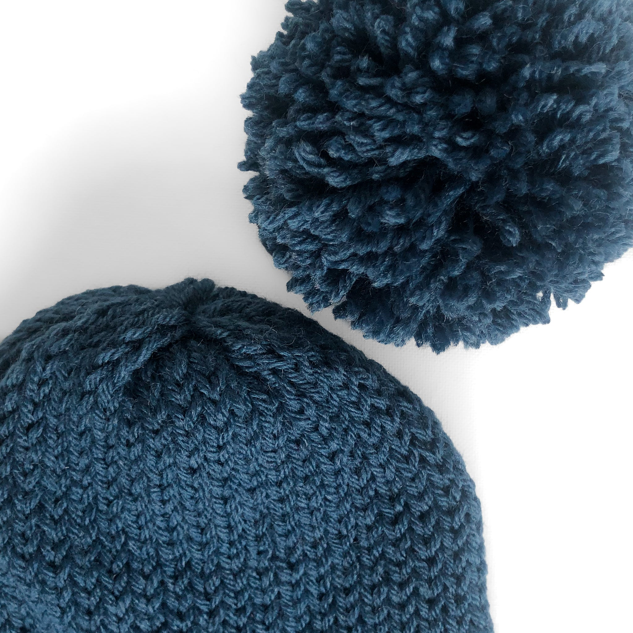 Double Knit Pom Beanie - Denim