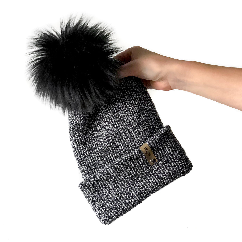 Double Knit Pom Beanie - Black Marled