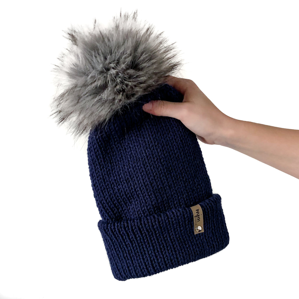 Double Knit Pom Beanie - Navy