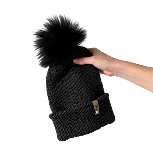 Double Knit Pom Beanie - Heather Gray