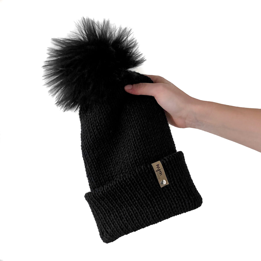 Double Knit Pom Beanie - Black