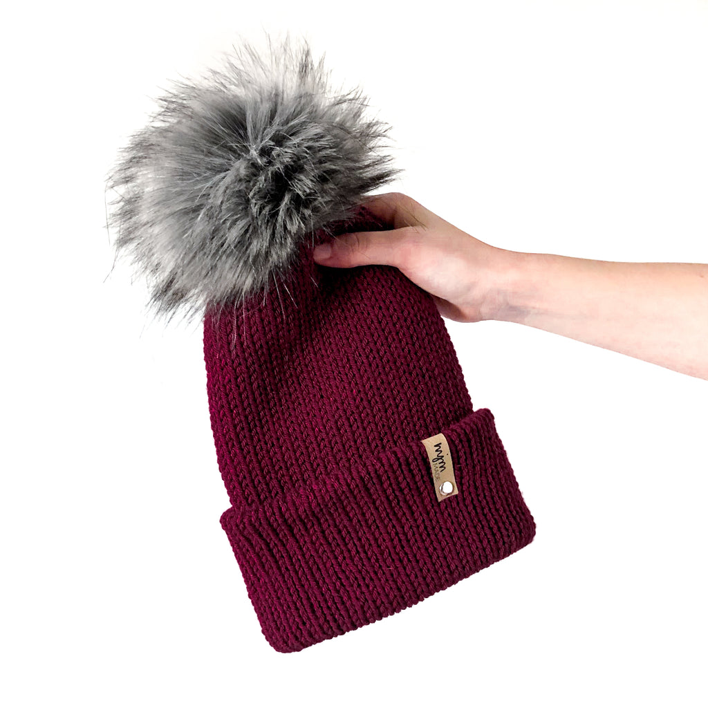 Double Knit Pom Beanie - Burgundy