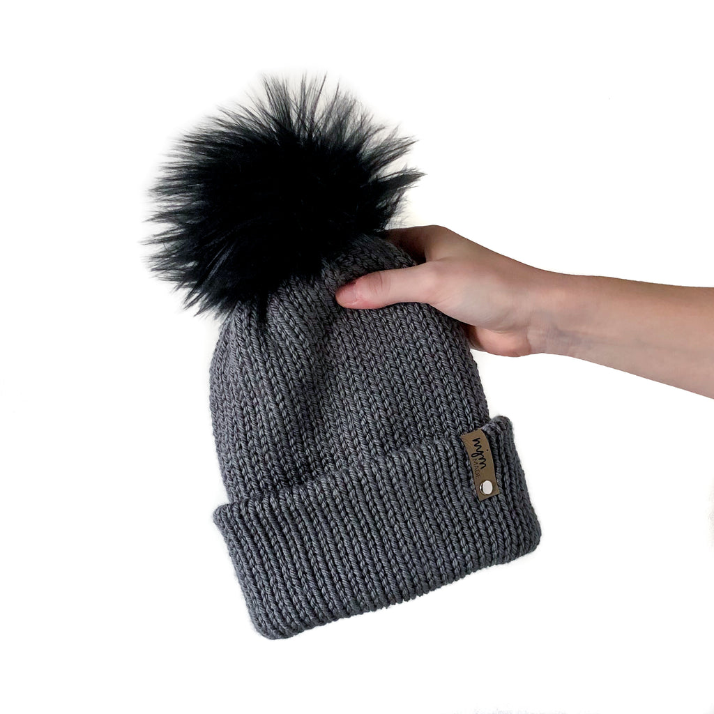 Double Knit Pom Beanie - Dark Gray