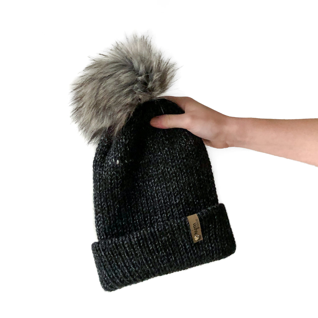Double Knit Pom Beanie - Black Canyon