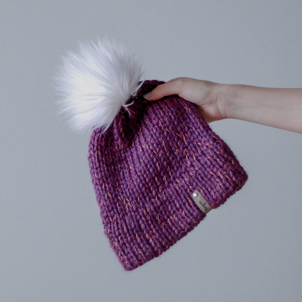 Bulky Hand Knit Pom Beanie - Purple & Gold
