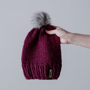 Bulky Hand Knit Pom Beanie - Orchid