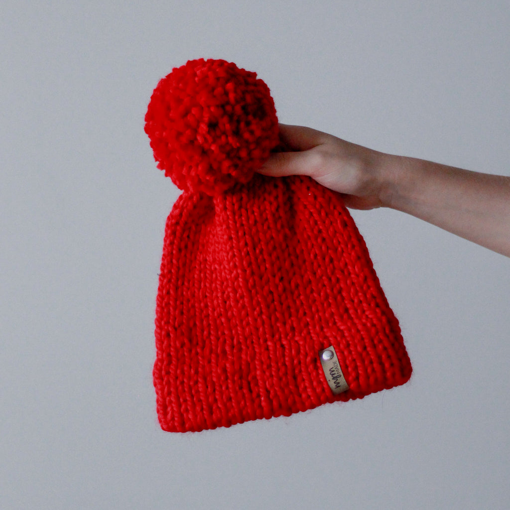 Bulky Hand Knit Pom Beanie - Bright Red