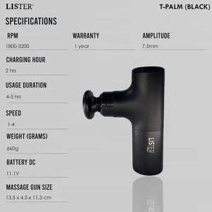 LISTER®  T-Palm Massage Gun 1 Year Warranty Inspected in Singapore