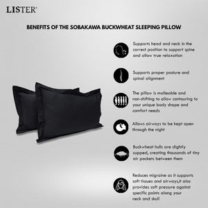 LISTER® Organic Natural Superior Tartary Sobakawa Buckwheat Sleeping Pillow Inspected in Singapore