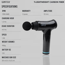 Load image into Gallery viewer, Christmas Gift | LISTER® T-Lightweight Carbon Fiber Massage Gun 3 Year Warranty Inspected in Singapore