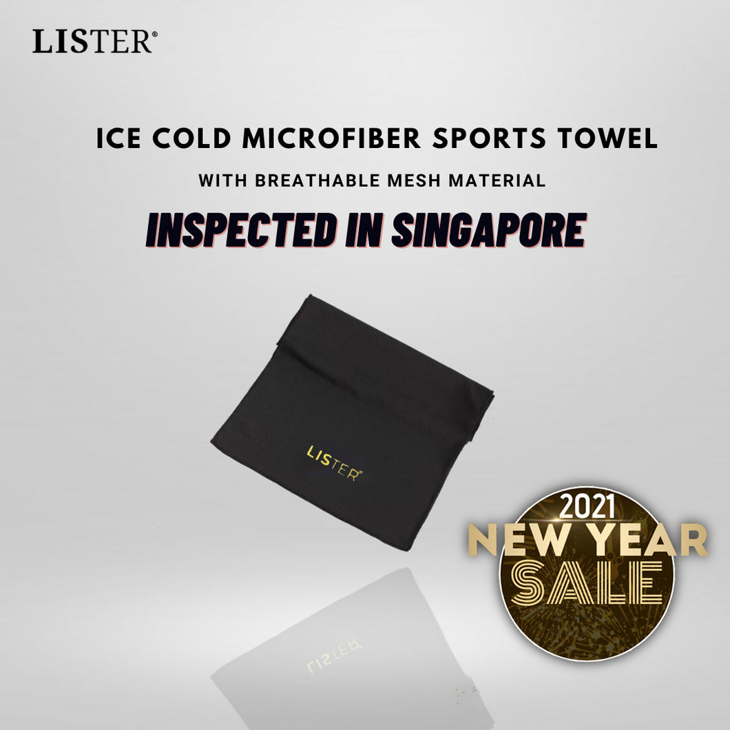 LISTER® ICE COLD MICROFIBER SPORTS TOWEL WITH BREATHABLE MESH MATERIAL INSPECTED IN SINGAPORE