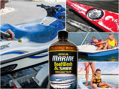Soap and wax cleaning jet ski, paddle boat, and other small water craft