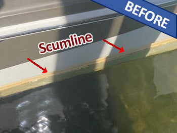 Scum and algae line before Boat Wash and Shine