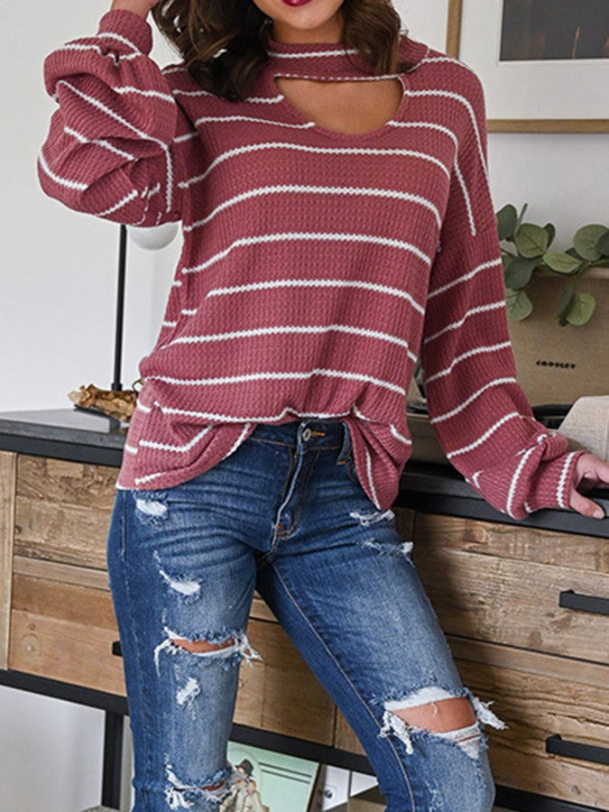 Sweetheart Long Sleeve Casual Stripes Sweater