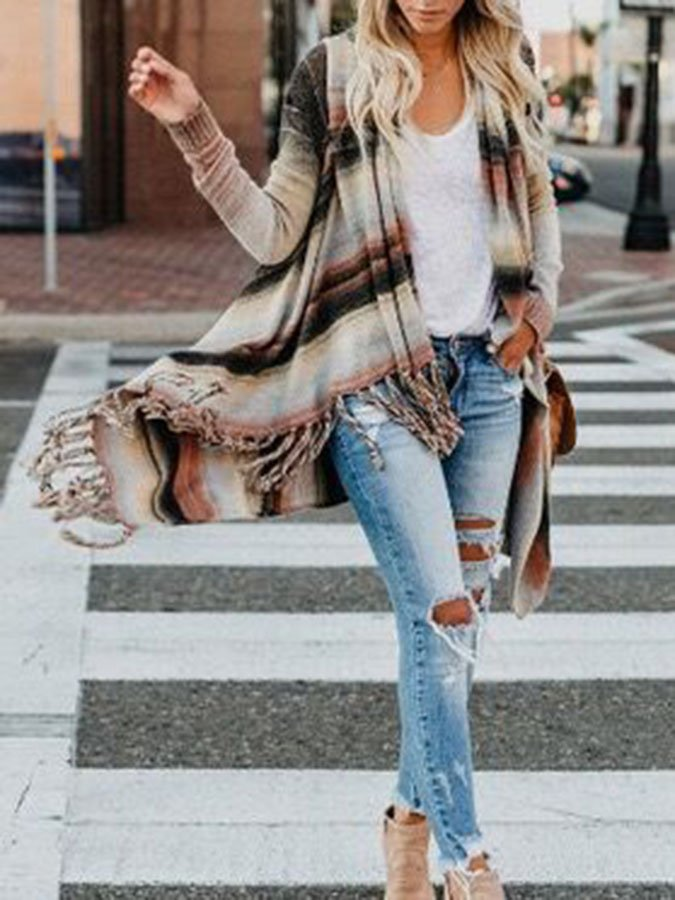 As Picture Woven Ombre/tie-Dye Long Sleeve Outerwear