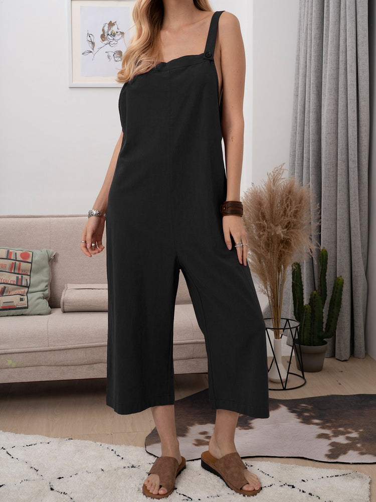 Solid Casual Cotton-Blend One-Pieces