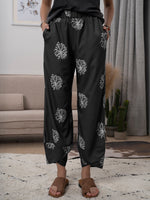 Printed Casual Cotton-Blend Pants