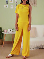 Women's Commuting Asymmetry Sleeve Solid One-Pieces Jumpsuit
