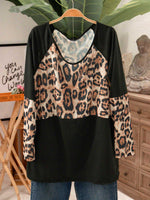 Black Cotton-Blend Casual Crew Neck Leopard Shirts & Tops