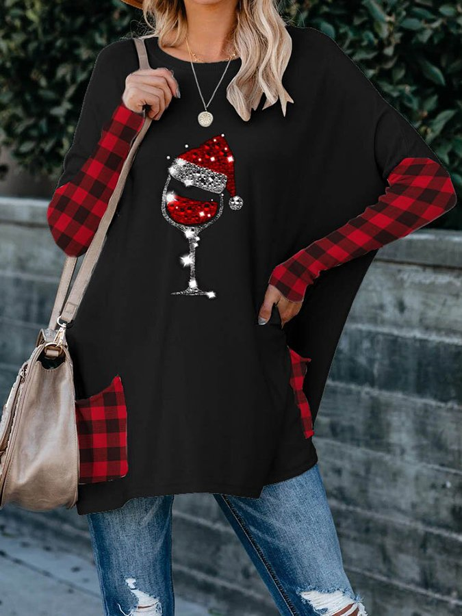 Women's Christmas Red Wine Glass Plaid Print Pocket Top