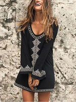 Tribal A-Line Vintage V Neck Dresses