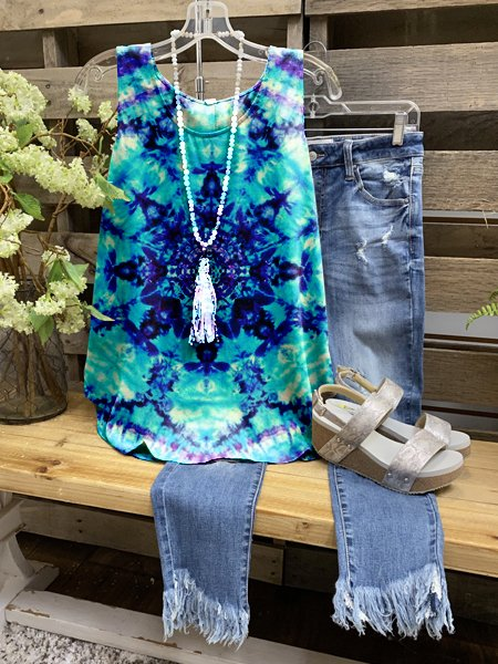 Blue A-Line Crew Neck Floral-Print Sleeveless Shirts & Tops
