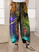 Blue Printed Casual Abstract Pants