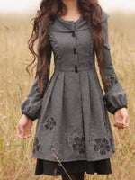 Cotton Lapel Vintage Sweet A-line Dresses