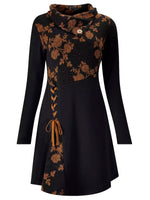Black Vintage Long Sleeve A-Line Floral Dresses