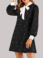 Black Polka Dots Shirt Collar Vintage Dresses