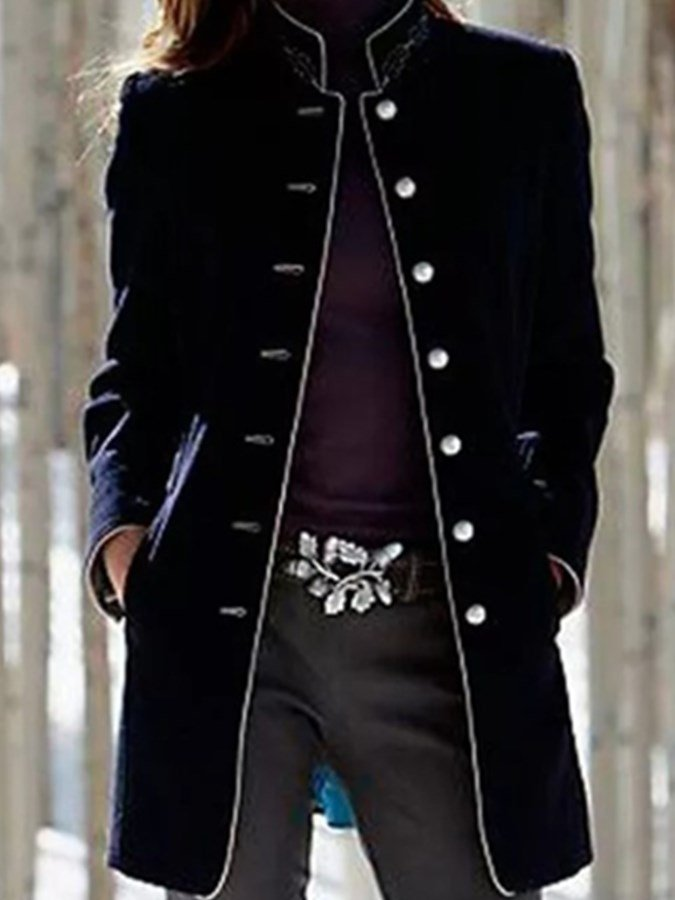 Black Long Sleeve Stand Collar Plain Outerwear