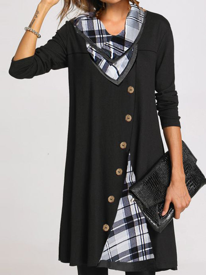Cowl Neck Shift Casual Long Sleeve Dresses