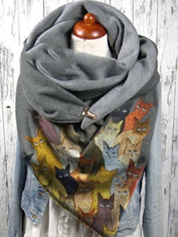 Gray Casual Cotton Animal Scarves & Shawls