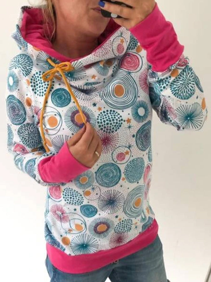 Blue Long Sleeve Floral Printed Hoodie Sweatshirt