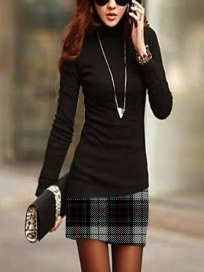 Bodycon Long Sleeve Patchwork Turtleneck Dresses